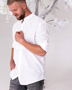 Мужская рубашка с вышивкой Борислав на белом льне