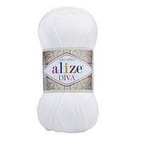 Ализе Дива белая. ,Alize diva silky effect 55