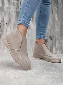 Оригинальные женские бежевые ботинки замшевые на невысоком каблуке, размеры от 36 до  41