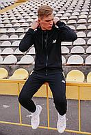 Спортивный костюм мужской черный NB, натуральный хлопок + полиэстер   Спортивный костюм весенний, брендовый