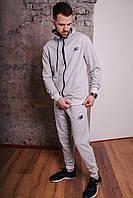 Спортивный костюм мужской серый NB, натуральный хлопок + полиэстер   Спортивный костюм весенний, брендовый
