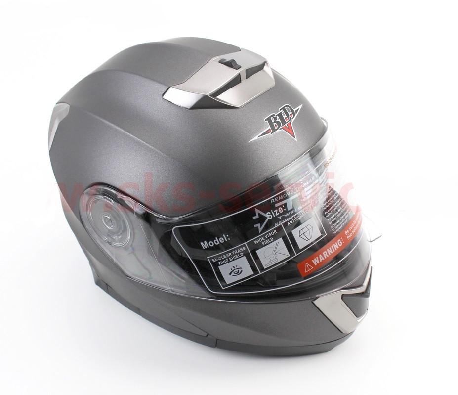 Шлем закрытый с откидным подбородком+очки BLD-160 S- СЕРЫЙ матовый