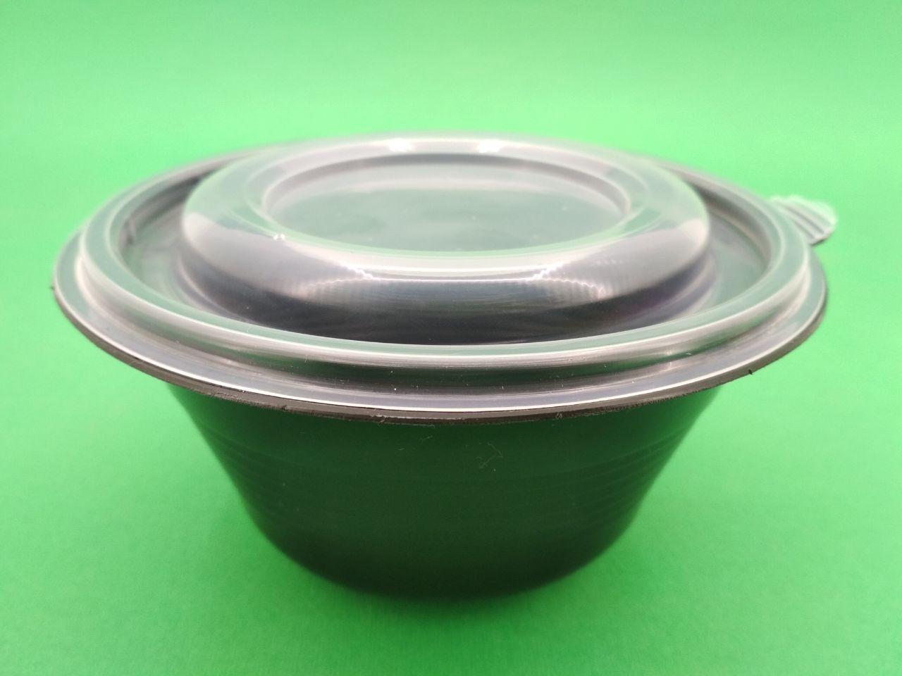 Супная емкость 500 мл чёрная с крышкой, ПП-117-350 (50 шт)