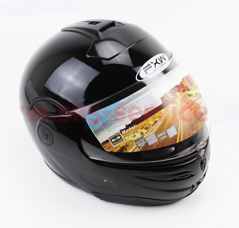 Шлем закрытый с откидным подбородком HF-108 M- ЧЕРНЫЙ глянец