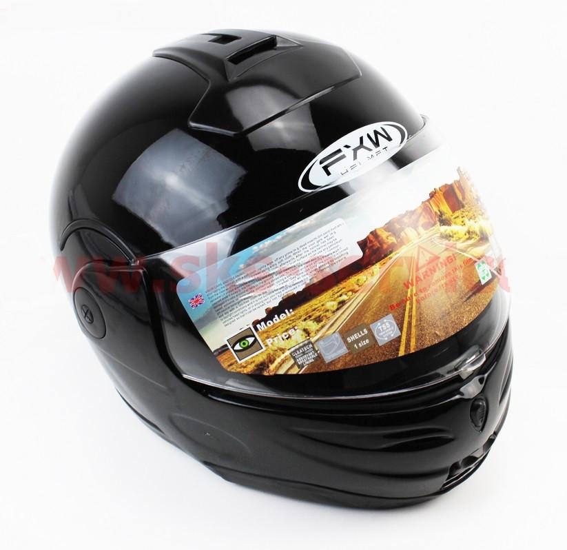 Шлем закрытый с откидным подбородком HF-108 L- ЧЕРНЫЙ глянец