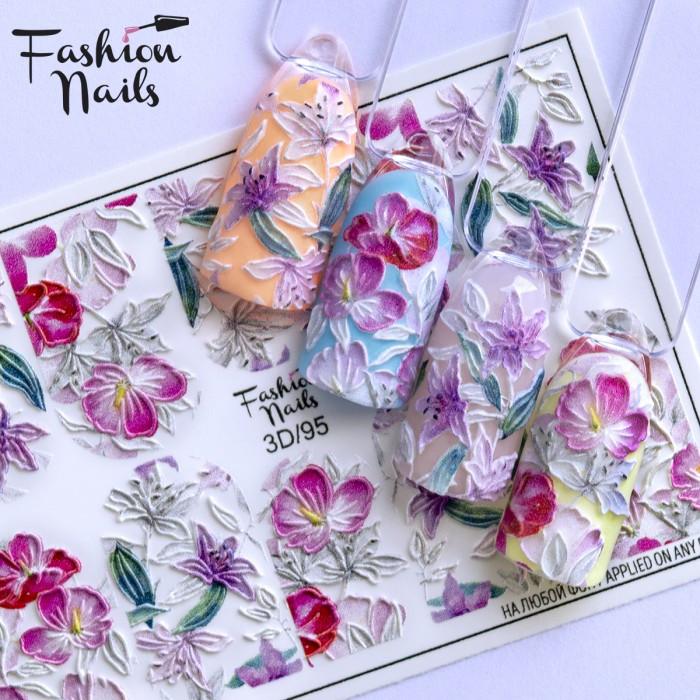 Слайдер-дизайн 3D наклейки для дизайна ногтей  объемные Цветочки Листочки Fashion Nails 3D/95