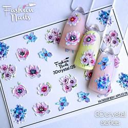 Слайдер-дизайн 3D наклейки для дизайна ногтей объемные Цветочки с камушками Fashion Nails
