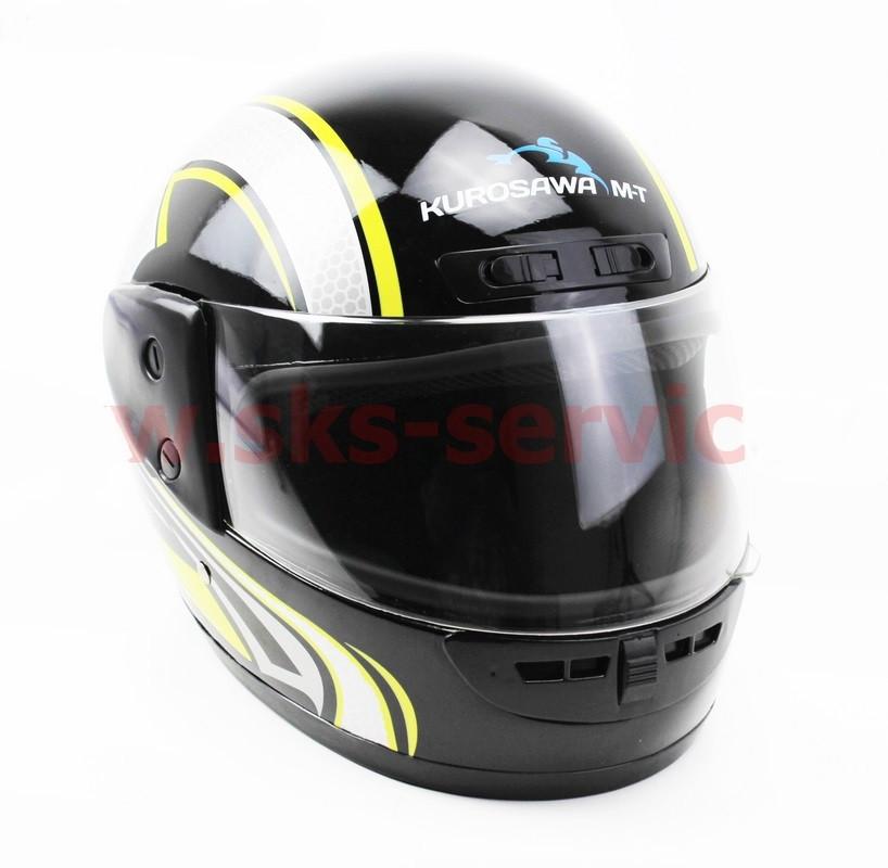 Шлем закрытый HF-101 M- ЧЕРНЫЙ с желто-серым рисунком Q233-Y