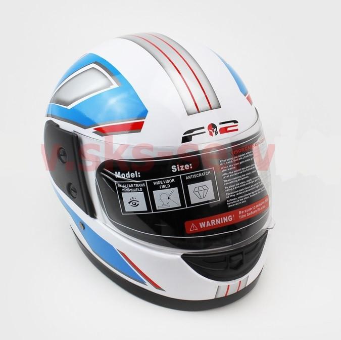 Шлем закрытый 825-3 S- БЕЛЫЙ с рисунком сине-белой полосой (возможны дефекты покраски)