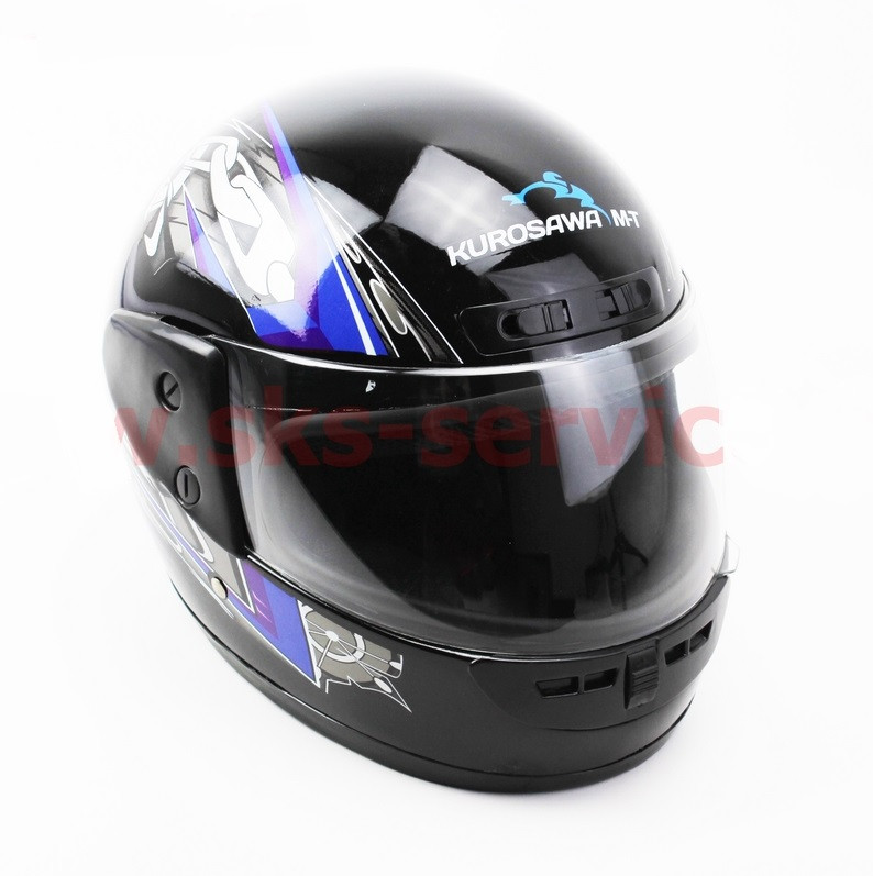 Шлем закрытый HF-101 S- ЧЕРНЫЙ с сине-серым рисунком Q23-BL
