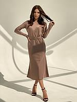 Женское весеннее платье с поясом шёлк армани беж мокко чёрный морская волна изумруд красный 40-42 44-46 46-48