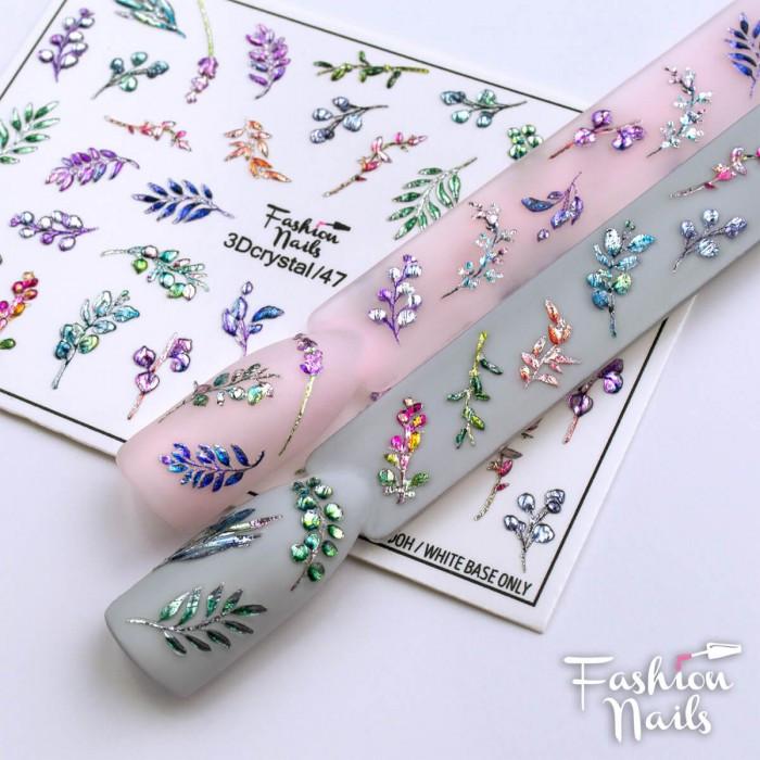 Кришталевий Слайдер Дизайн 3D Листочки Рослини водні наклейки для нігтів Fashion Nails 3DCrystal/47