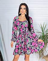 Летнее платье в крупный цветочек, супер софт , 2021 : 42/44 46/48