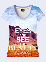 Женская футболка с принтом Открой свои глаза