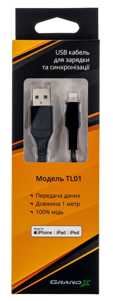 Кабель Grand-X USB - Lightning 100см Чорний (TL01)