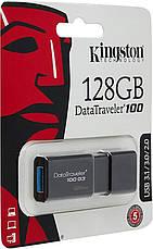 USB Флешка (Флэш-накопитель) 3.0 Kingston DT100 G3 128GB Черный (DT100G3/ 128GB), фото 2