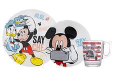 Набір посуду для дітей LUMINARC Disney Party Mickey 3 предмети Скло Білий (N5278), фото 2