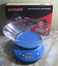 Ваги кухонні електронні з чашею Matarix MX-401 (до 5 кг, синій)