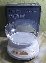 Ваги кухонні електронні з чашею А-Плюс SC-1656 (до 5 кг, білий)