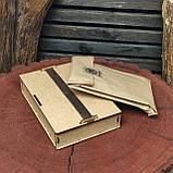 Шкіряний блокнот у подарунковій коробці, Блокнот ручної роботи з квітами, фото 10