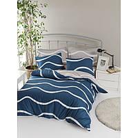 Качественное семейное постельное белье синее