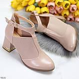 Ефектні зручні рожеві жіночі туфлі з еластичними вставками на підборах, фото 7