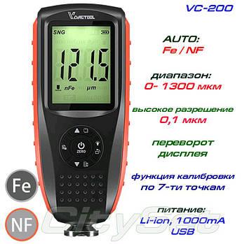 VC200 толщиномер краски, Fe / NFe, до 1300 мкм, аккумулятор Li-ion