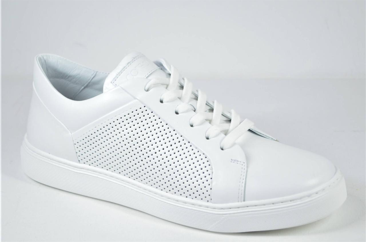 Женские стильные кожаные кеды белые Corso Vito 02 - 1343516