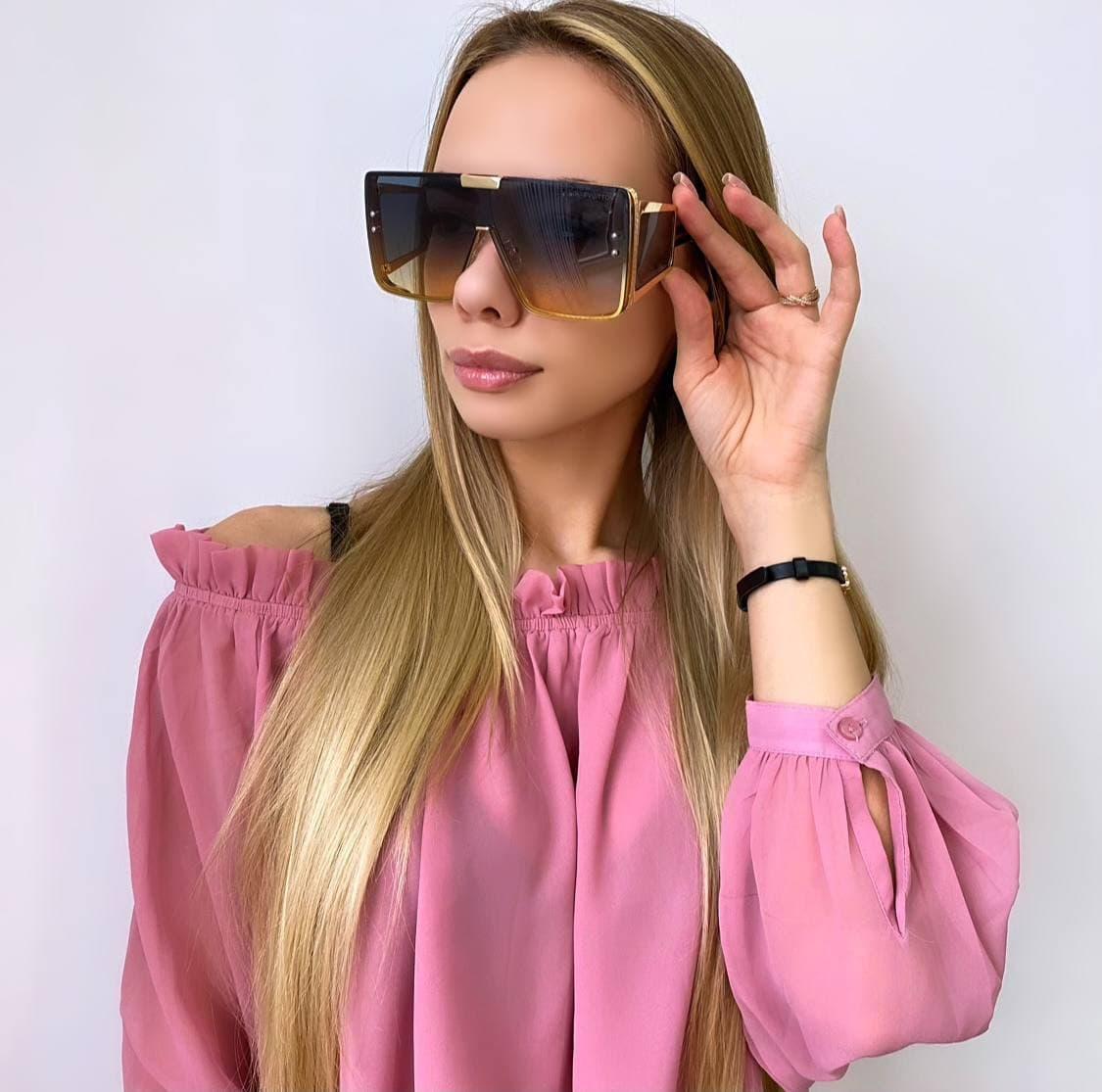 Женские большие цветные солнцезащитные очки (маска)