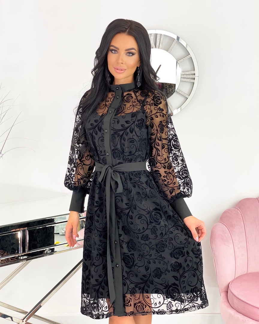 Женское платье, сетка + напыление флок, р-р 42-44; 46-48; 50-52 (чёрный)