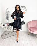 Женское платье, сетка + напыление флок, р-р 42-44; 46-48; 50-52 (чёрный), фото 2