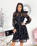 Женское платье, сетка + напыление флок, р-р 42-44; 46-48; 50-52 (чёрный), фото 3