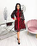 Женское платье, сетка + напыление флок, р-р 42-44; 46-48; 50-52 (красный), фото 2