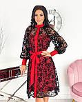 Женское платье, сетка + напыление флок, р-р 42-44; 46-48; 50-52 (красный), фото 3