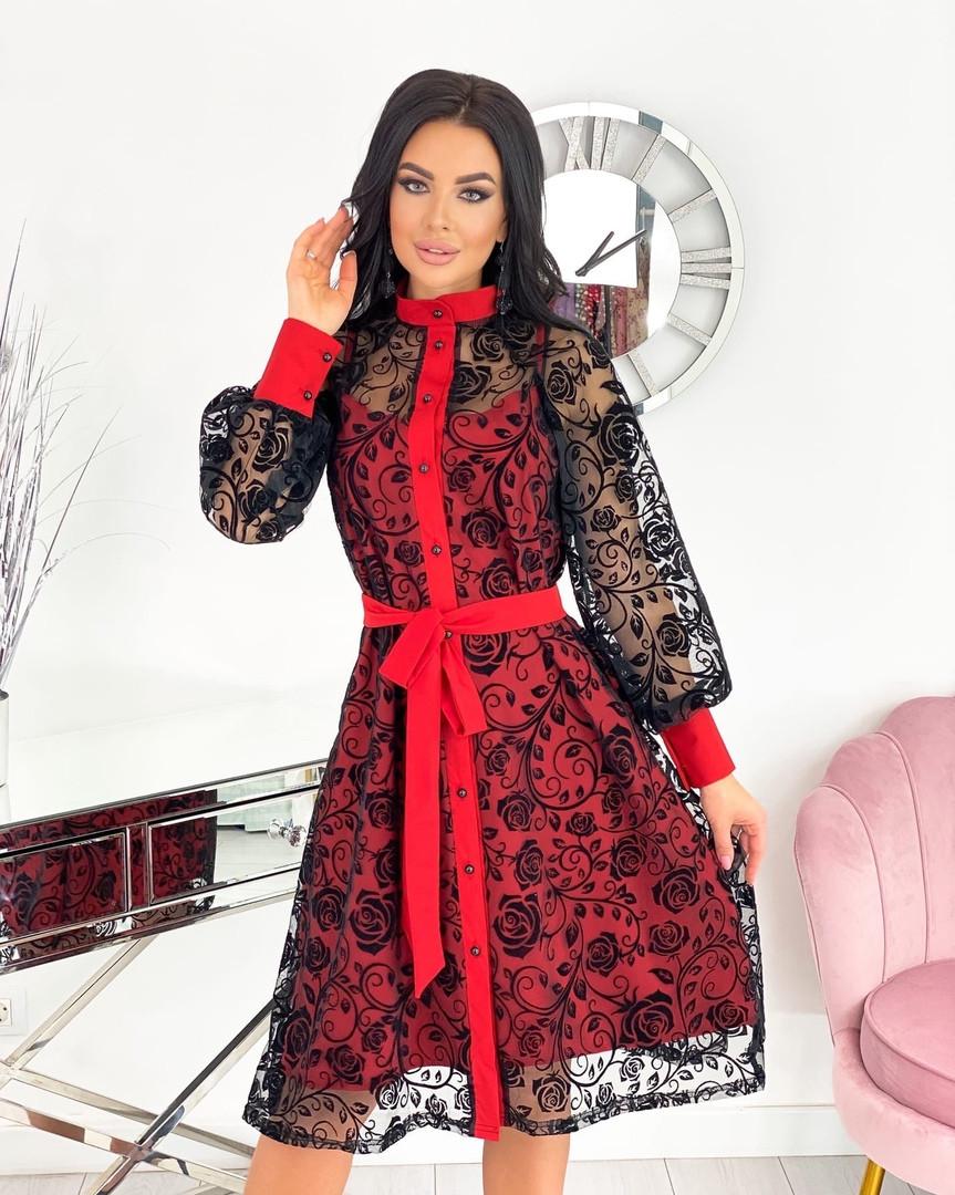 Женское платье, сетка + напыление флок, р-р 42-44; 46-48; 50-52 (красный)