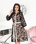 Женское платье, сетка + напыление флок, р-р 42-44; 46-48; 50-52 (бежевый), фото 2