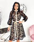 Женское платье, сетка + напыление флок, р-р 42-44; 46-48; 50-52 (бежевый), фото 3