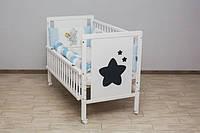 Кроватка детская Labona Звезда, шарнир+подшипник, откидная боковина, белая