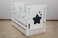 Кроватка детская Labona Звезда, шарнир+подшипник, ящик, откидная боковина, белая