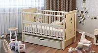 Кроватка детская Labona Мишка, шарнир+подшипник, ящик, откидная боковина, белая