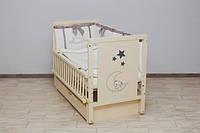 Кроватка детская Labona Звезда, шарнир+подшипник, ящик, откидная боковина, слоновая кость