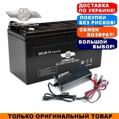 Гелевый аккумулятор Haswing 80a/h; 12V + З/У 10А. Комплект; Тяговый GEL аккумулятор Хасвинг;