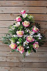 Искусственные цветы - Роза с лилией композиция, 60 см