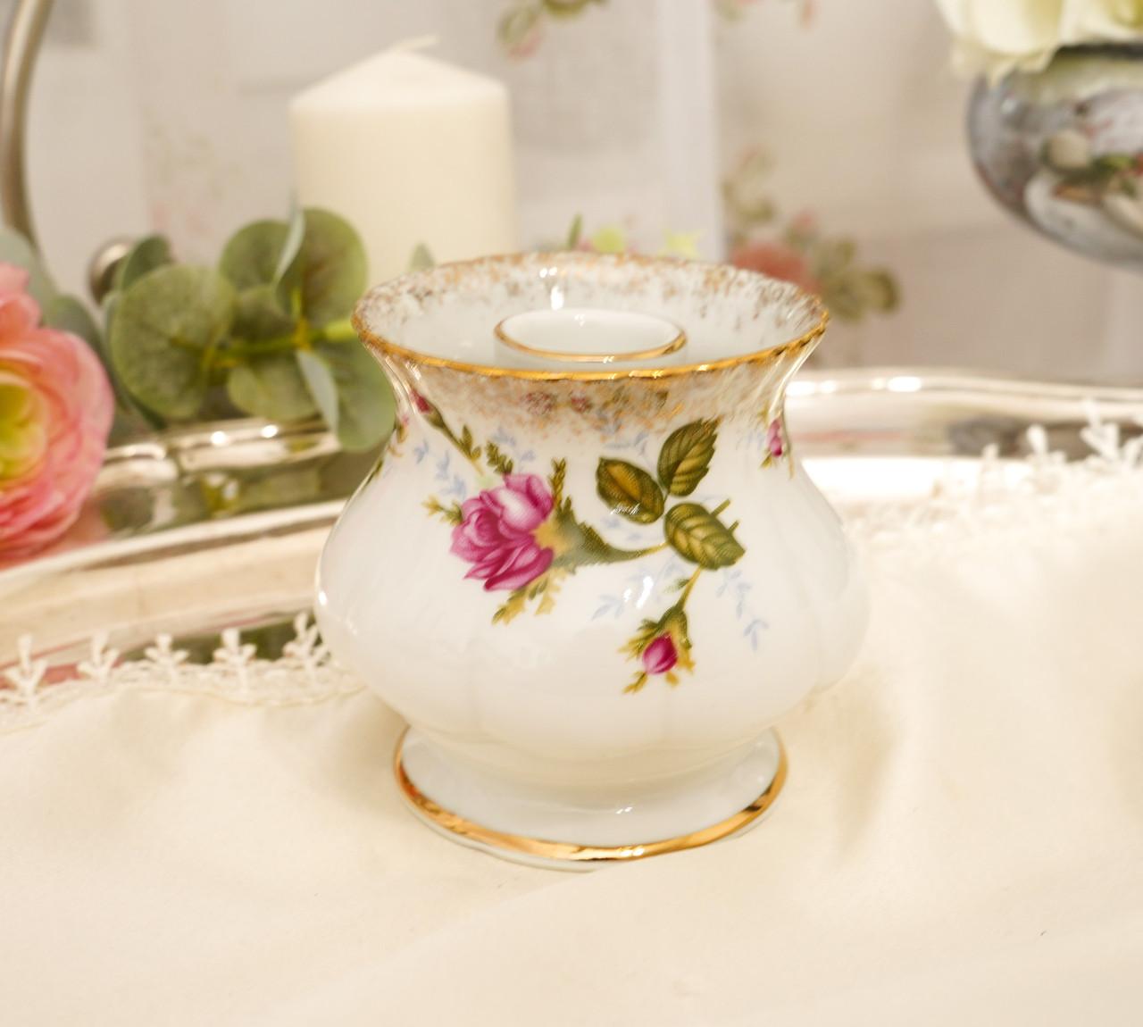 Винтажный фарфоровый ваза подсвечник, фарфор с розами, Chodziez, Польша, прованс