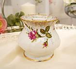 Винтажный фарфоровый ваза подсвечник, фарфор с розами, Chodziez, Польша, прованс, фото 3
