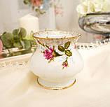 Винтажный фарфоровый ваза подсвечник, фарфор с розами, Chodziez, Польша, прованс, фото 4