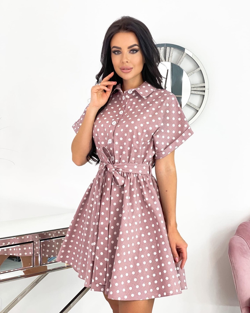 Женское платье, коттон - лён, р-р 42-44; 46-48 (пудровый)