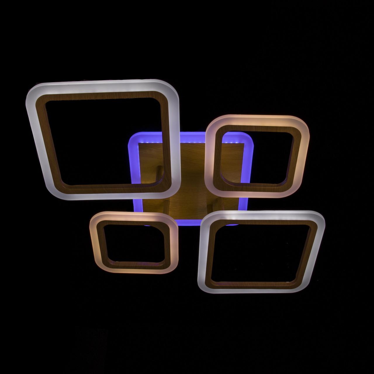 Стельова світлодіодна люстра з діммером і підсвічуванням підстави P5-YH065/2+2/WOOD