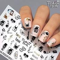 Слайдер-дизайн наклейки на ногти для маникюра водные слайдеры для ногтей Модный Креатив Fashion Nails G82