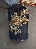 Стильная джинсовая кепка со стразами., фото 1